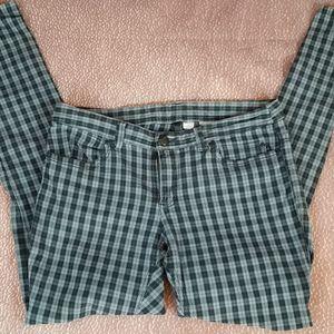 Plaid stretchy skinny jeans